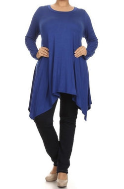 PLUS SIZE - Jersey Asymmetrical Tunic - Royal Blue