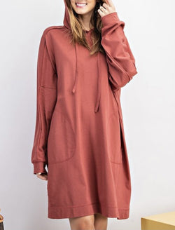 Terry Knit Hoodie Tunic Dress - Sienna