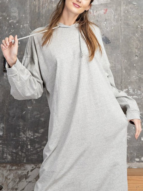 Terry Knit Hoodie Midi Tunic Dress - Heather Grey