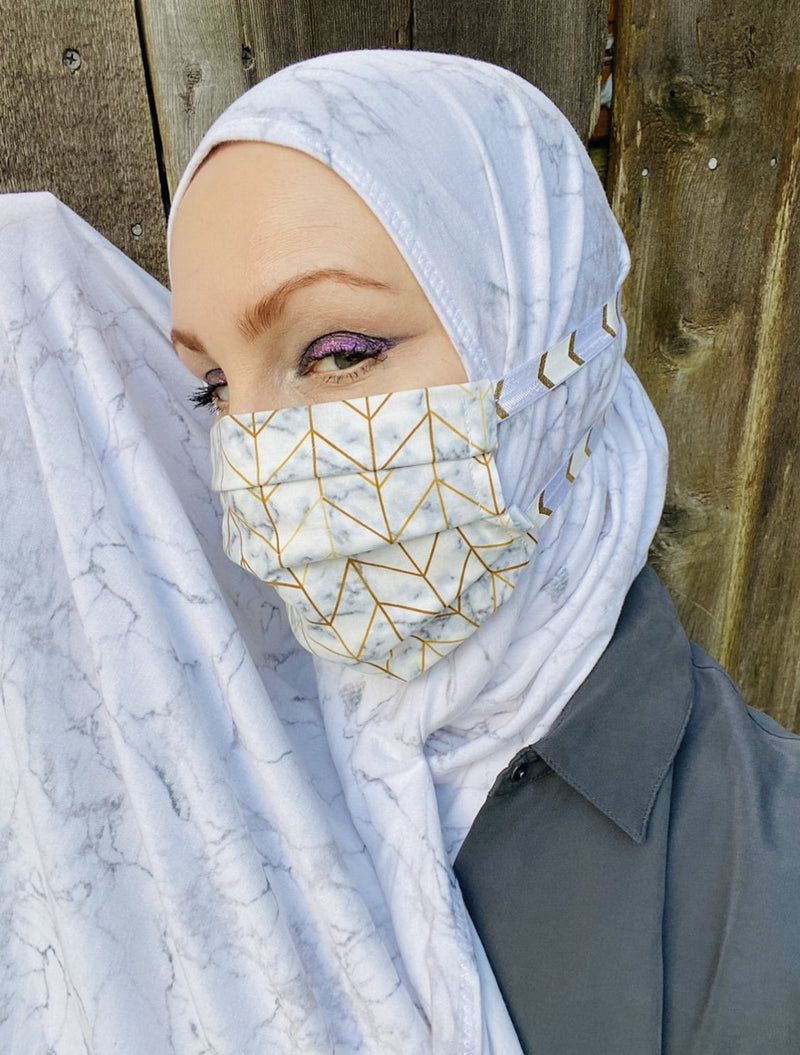 Limited Edition Bundle Printed Jersey Hijab + Mask: Marble Effect