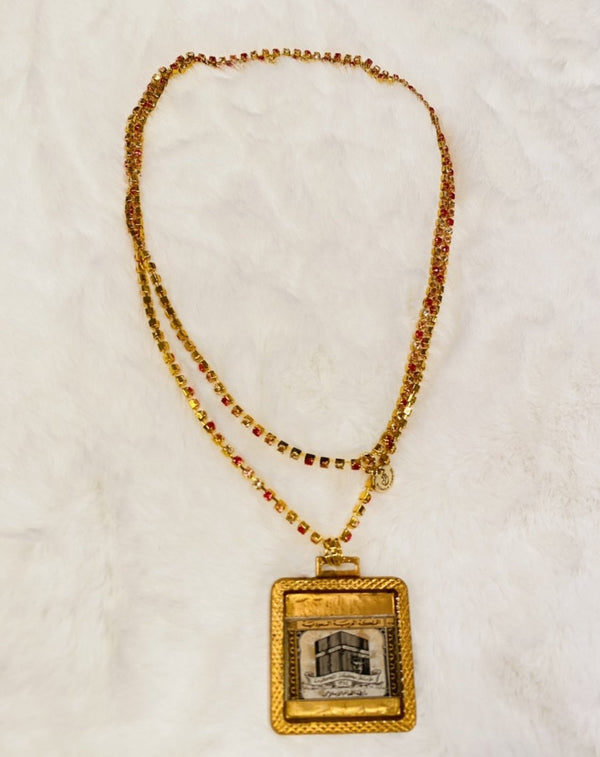 Vintage Necklace - The Kaaba in Pink Rhinestones