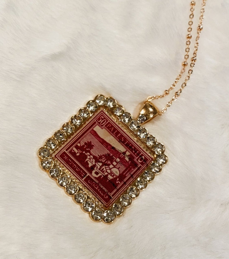 Vintage Necklace - Palestine in Rose Gold & Rhinestones