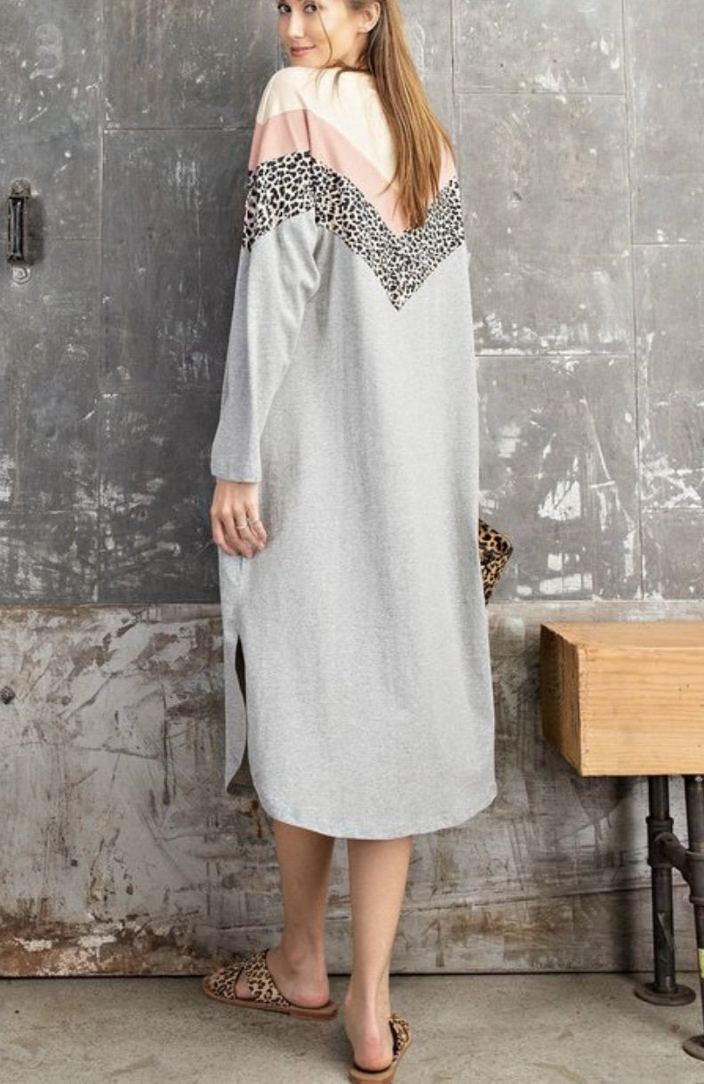 Color Block Midi Tunic Dress - Grey