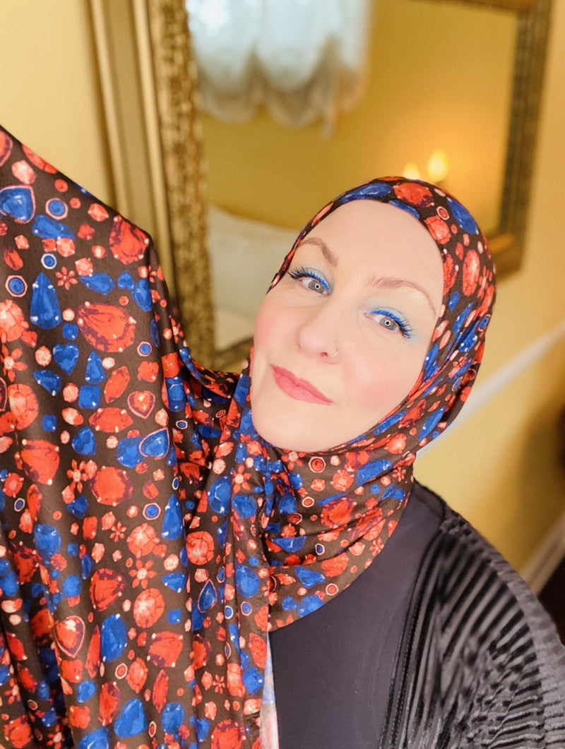 Limited Edition Printed Jersey Hijab: Italian Crown Jewels