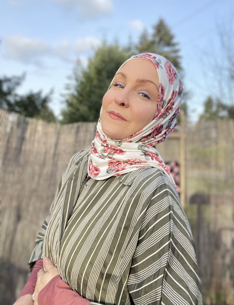 Limited Edition Printed Jersey Hijab: Roses & Cream