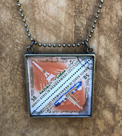 Vintage Stamp Pendant Necklace - South Arabia Eiffel Tower