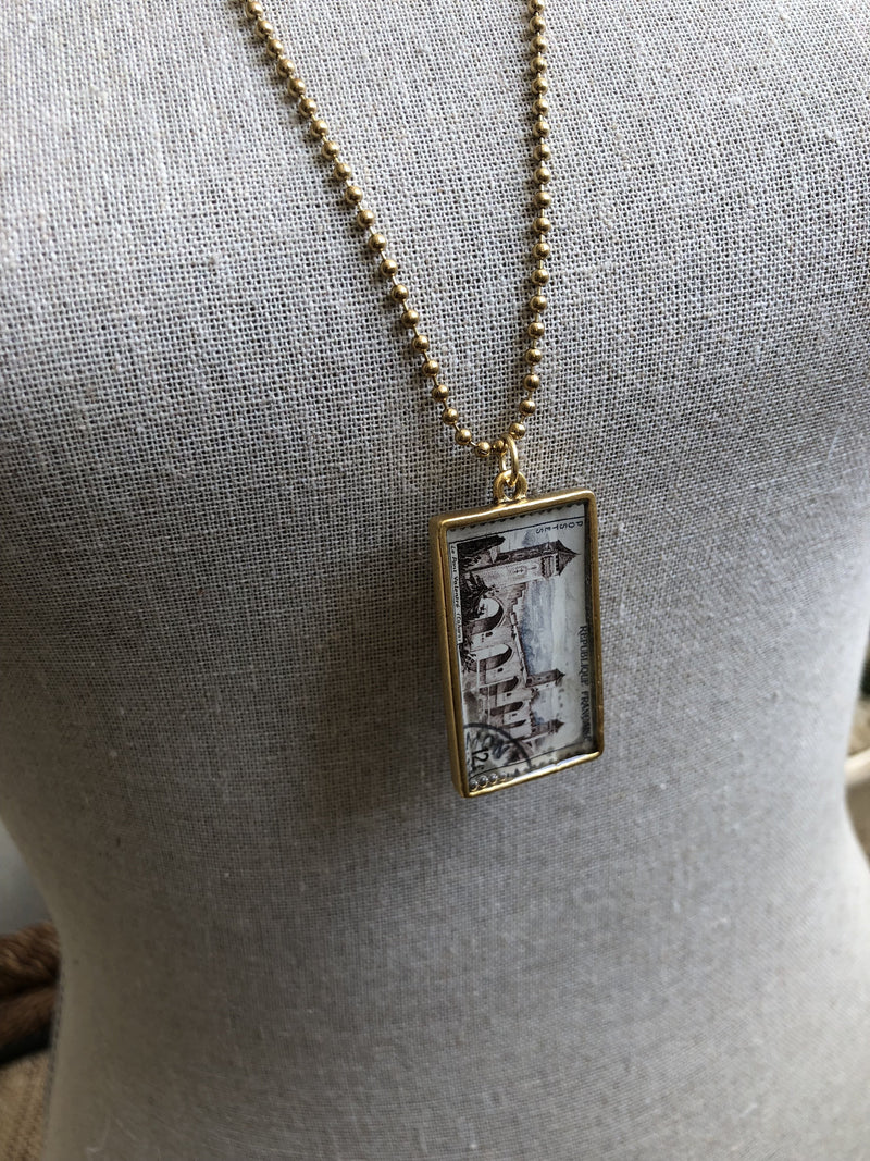 Vintage Stamp Pendant Necklace - France