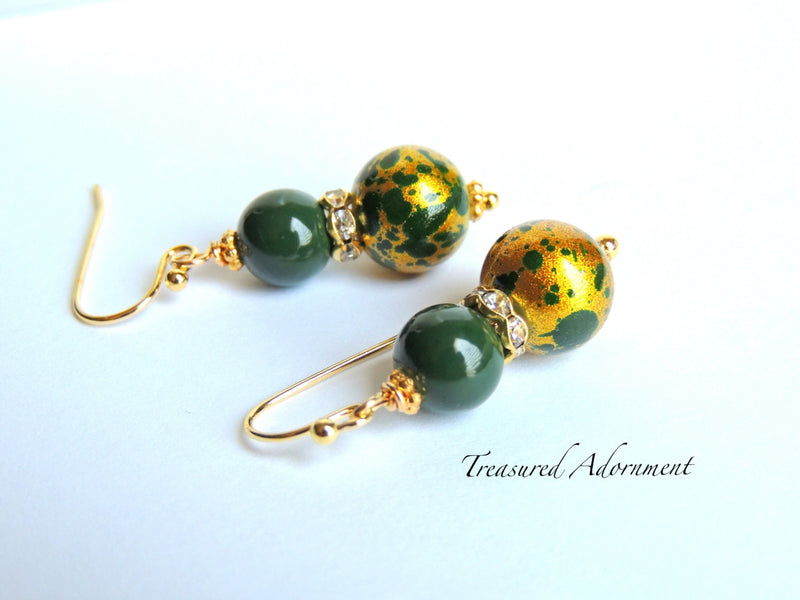 Gold and Forest Green Earrings