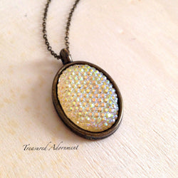 Aurora Borealis Clear Pave Style Resin Necklace