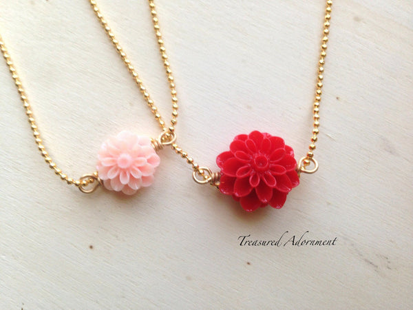 Pastel Pink & Red Mum Flower Mommy and Me Necklace Set
