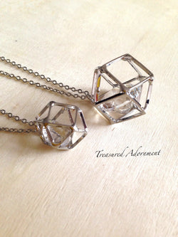 3D Geometric Mother and Daughter Necklace set, Silver