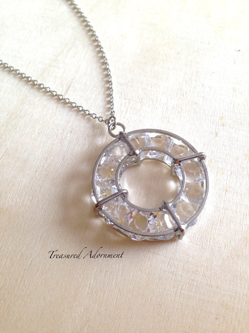 3D Circle Necklace, Silver