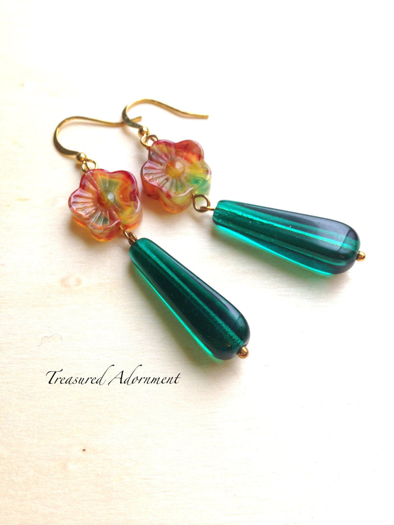 Green Drop with Flower Earrings