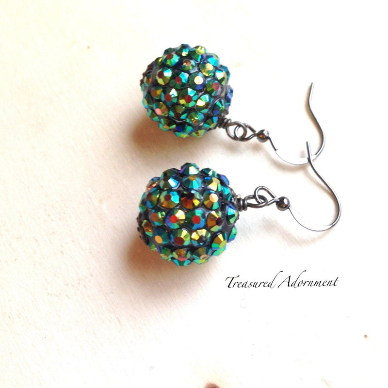 Green Pave Style Disco Ball Earrings