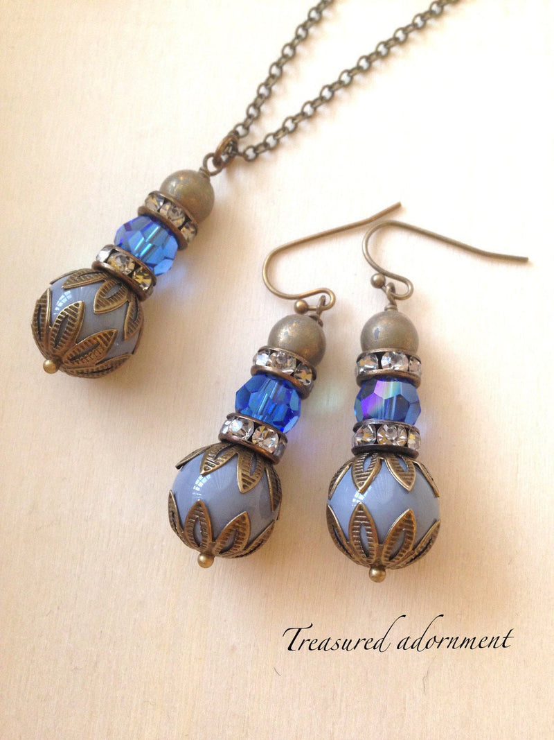 Swarovski Crystal & Gray Glass Bead Earrings and Necklace