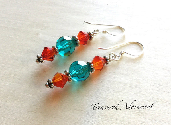 Teal and Fire Opal Swarovski Crystals Earrings