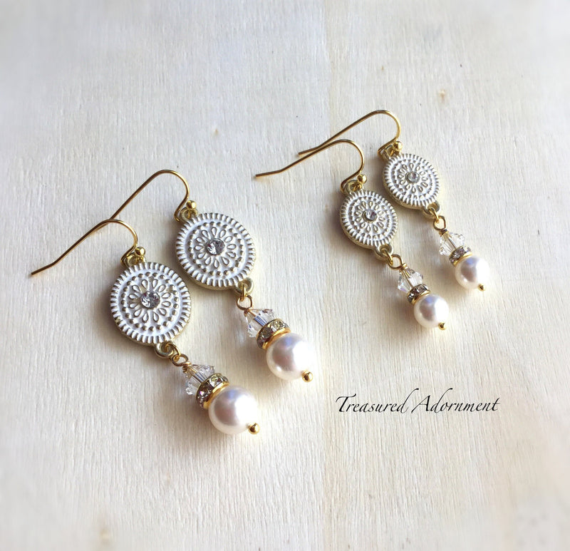 Swarovski Pearl and Crystal Mommy and Me Earrings Set