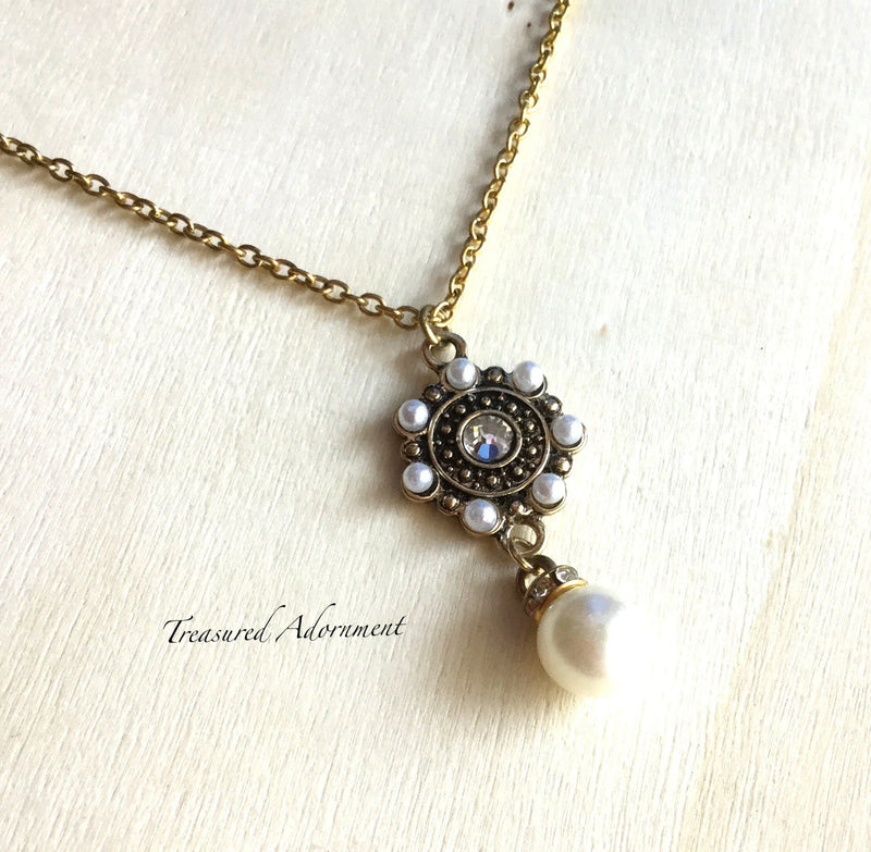 Antiqued Gold Tone Charm with Glass Pearl Drops