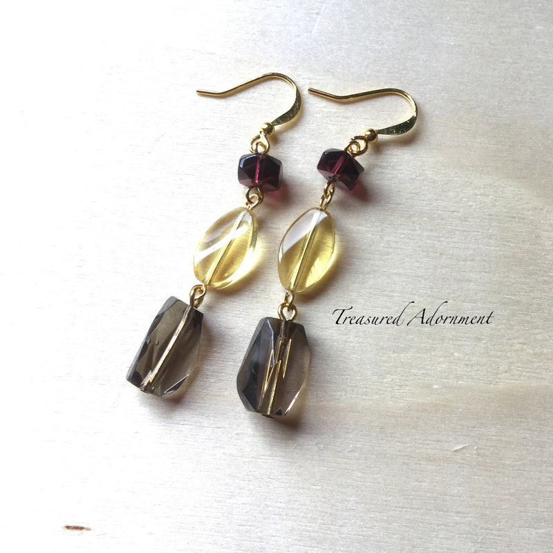 Yellow & Burgundy Glass Beads Earrings