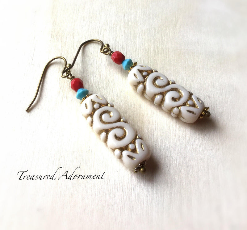Scroll Earrings with Swarovski Crystals & Czech Beads