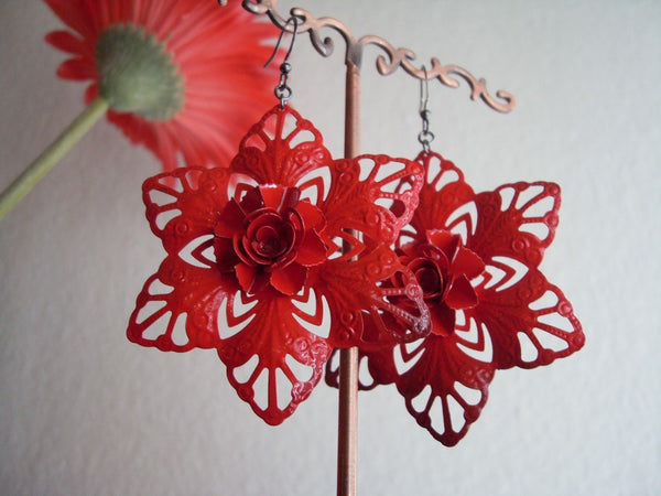 Carmen Red Flower Filigree Earrings
