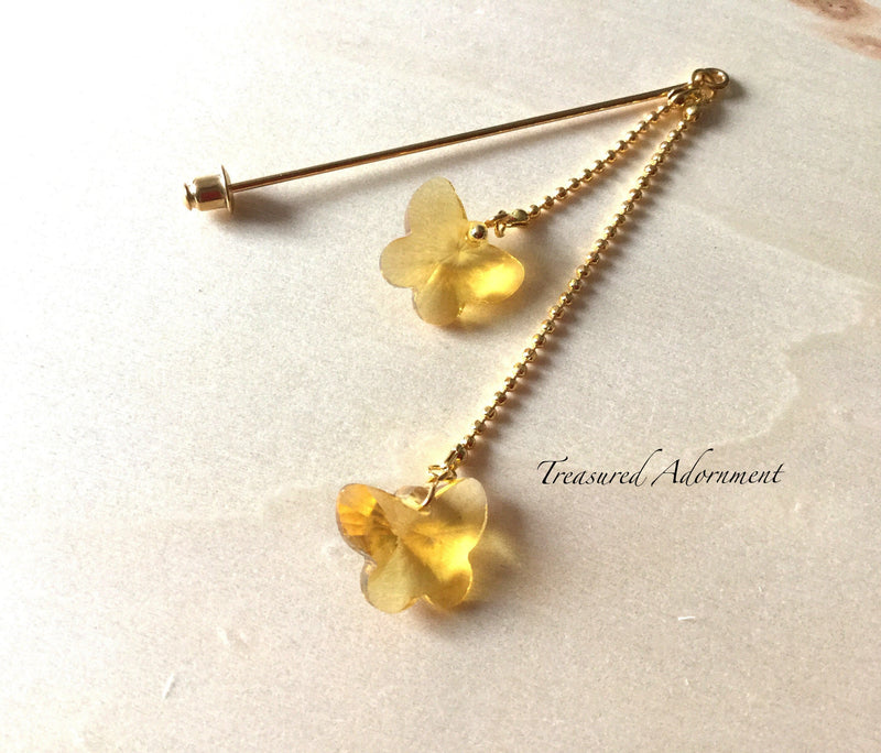 Crystal Butterfly Yellow Double Dangle Scarf Pin
