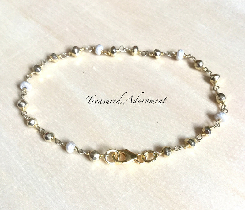 Pyrite and Freshwater Pearl Bracelet