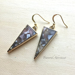 Gray Multicolor Inverted Triangle Earrings
