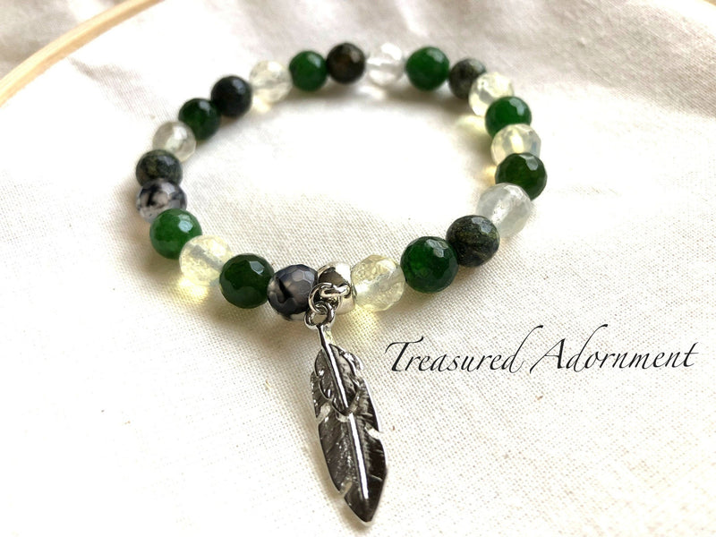 Green and Brown Agate Gemstone Feather Charm Bracelet