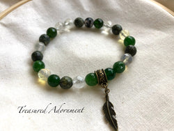 Green and Clear Agate Feather Charm Bracelet