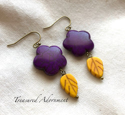 Purple & Orange Flower Earrings