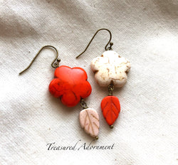Orange & Off White Flower Mismatched Earrings