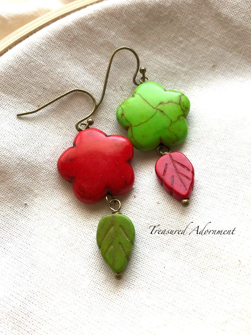 Green & Red Flower Mismatched Earrings