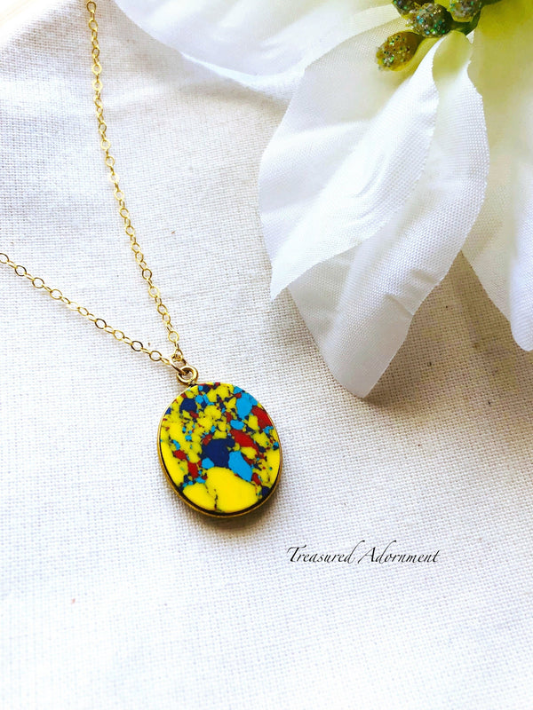 14k Gold filled Autism Awareness Oval Necklace