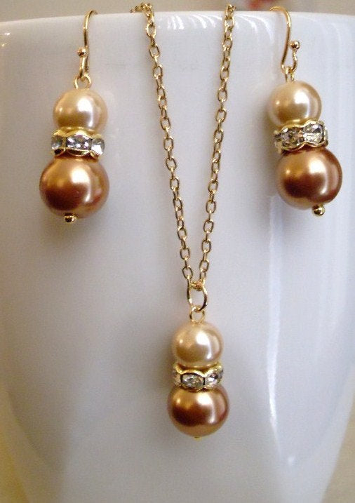 Burnt Orange and Champagne Gold Glass Pearls Earrings and Necklace Set
