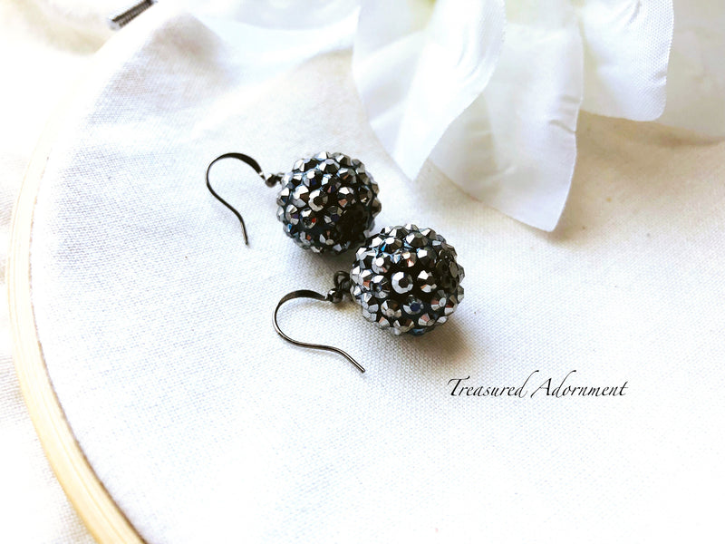 Metalic Gray Pave Style Disco Ball Earrings