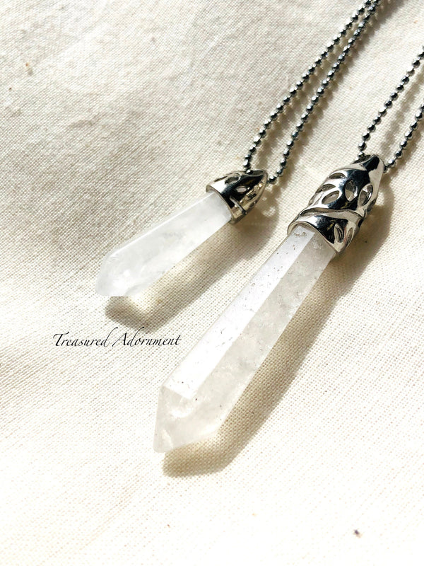 Crystal Point Quartz Pendant Necklace,  Mommy and Me set