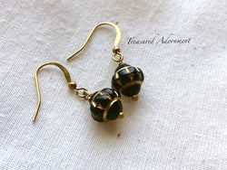 Black and Gold Glass Bead Drop Earrings