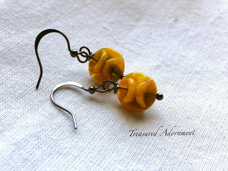 Simple Drop Yellow & Green Bead Earrings