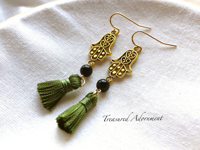 Long Olive Tassel Hamsa Earrings