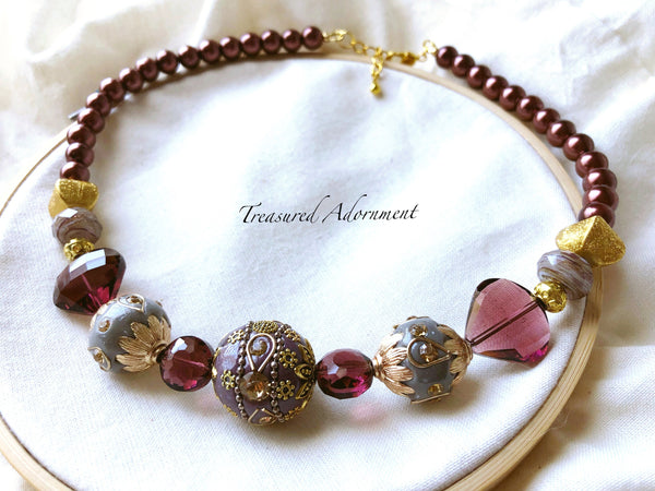 Wine Red and Purple Statement Necklace