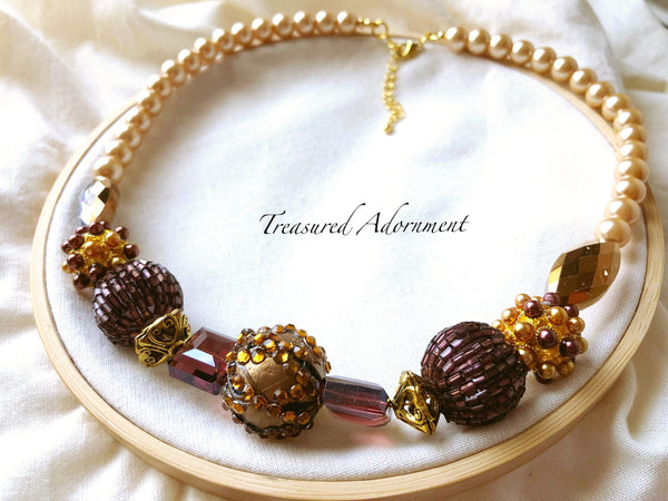 Champagne and Wine Red Statement Necklace