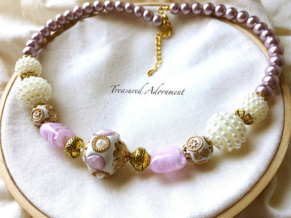 Pink and White Pearl Statement Necklace