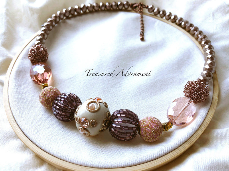 Rose Gold Beads Statement Necklace