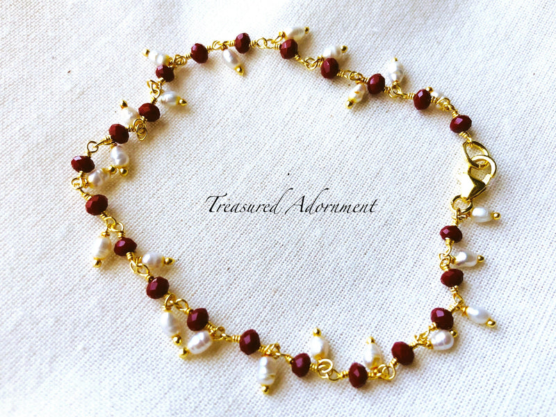 Ruby and Fresh Water Pearl Dangle Bracelet