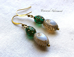 Green and Opaque Glass Bead Drop Earrings