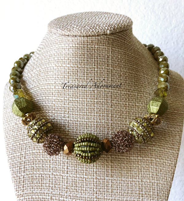 Sage and Copper Statement Necklace