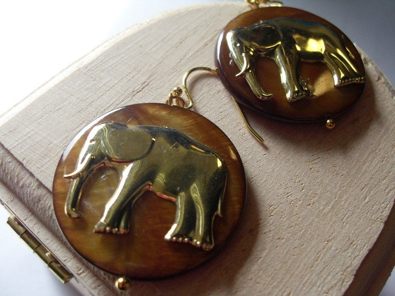 Elephant Mother of Pearl Earrings