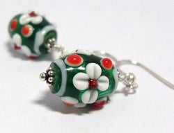 Red and Green Lampwork Beads Earrings