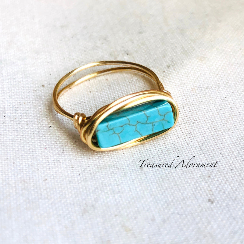 Turquoise Howlite Ring